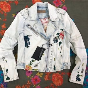 NWT BlankNYC Denim Moto Jacket Studded Embroidery